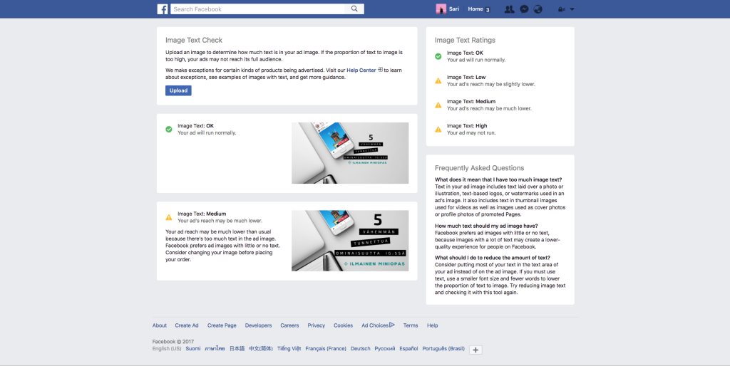 Facebook mainoksen kuvien tarkastaminen