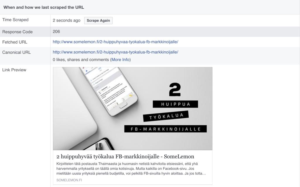 facebook päivityksen kuva puuttuu jakaessa